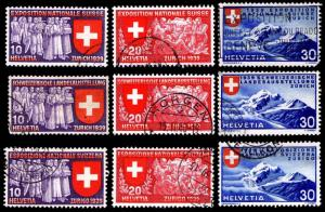 1939 SWITZERLAND #247-55 NAT'L EXPOSITION - USED - VF - CV$22.00 (ESP#2490)
