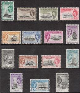 FALKLAND ISLANDS DEP 1954 ½d-£1 Ships; Scott 1L19-33, SG G26-40; MNH