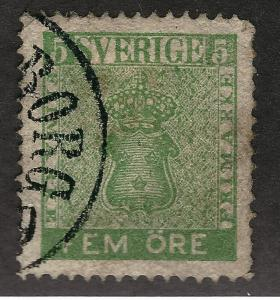 Sweden 1858 Sc #6 VF Used Cat $18...Great Value!