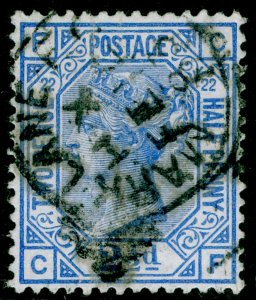 SG157, 2½d blue plate 22, USED. Cat £45. CF