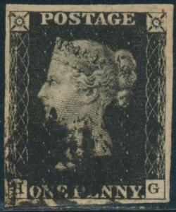 G.B. #1 XF USED GEM 4 LARGE MARGINS WITH LIGHT BLACK CANCEL BS2102