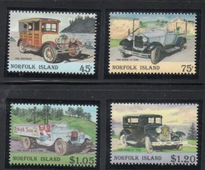 Norfolk Island Sc  569-72 1995 old cars stamp set mint NH