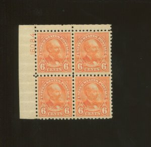 United States Postage Stamp #587 MNH F/VF Plate No. 16084 Block of 4
