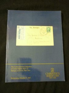 CHRISTIES AUCTION CATALOGUE 1987 US STAMPS ON COVER PART 2 'GRUNIN' COLLECTION