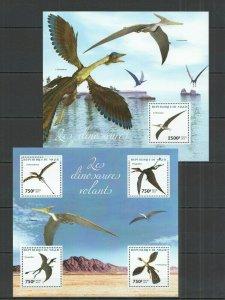 ST2730 2014 NIGER FAUNA PREHISTORIC ANIMALS FLYING DINOSAURS 1KB+1BL MNH