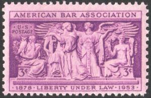 SC#1022 3¢ American Bar Association Single (1953) MNH