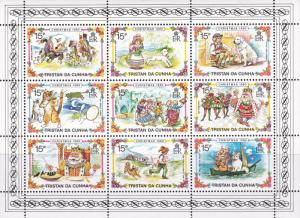 Tristan Da Cuhna 1980 Christmas Fairy Tales & Stories  Sheet of Nine VF/NH