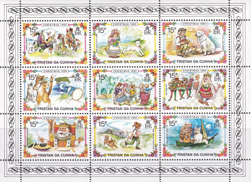 Tristan Da Cuhna 1980 Christmas Fairy Tales & Stories  Sheet of Nine VF/NH
