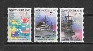 NORFOLK ISLAND #520,522,524  CORAL SEA  BATTLE  MNH