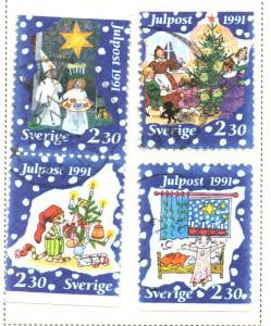 Sweden Sc 1910-3 1991 Christmas stamp set used