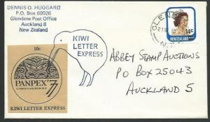 NEW ZEALAND 1980 cover Kiwi Letter Express, Panpex 77 cinderella...........64743