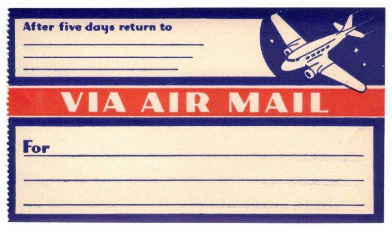 VERY SCARCE 1935 UNUSED VIA AIR MAIL LABEL, CINDERELLA