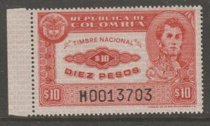 Columbia revenue stamp 7-10-21 -- as seen-  MNH Gum