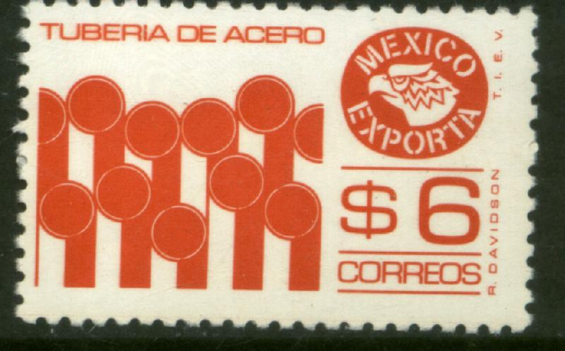 MEXICO Exporta 1121b $6P Pipes Perf 11 Fluor Paper 7 MNH