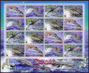 Grenada WWF Clymene Dolphin Sheetlet of 4 sets SG#5288-5291 SC#3654a-d