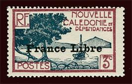 NEW CALEDONIA Scott #219 1941 France Libre overprint unused HR, thin