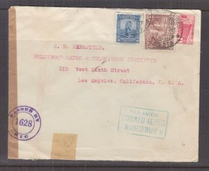 COLOMBIA, 1941 Airmail Censored cover, Bogota to USA, 1/2c., 5c. & 30c.