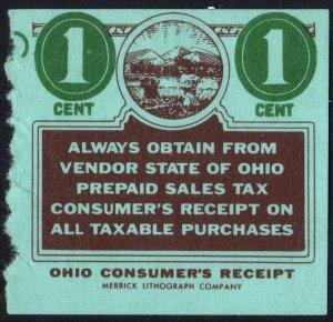 State of Ohio 1¢ Prepaid Sales Tax Consumer's Receipt