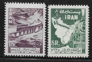 IRAN 1103-1104 MNH TRAIN AND VIADUCT SET 1958