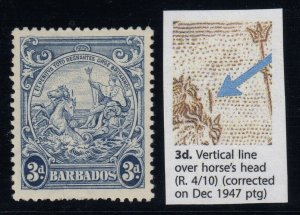 Barbados, SG 252ca, MLH Vertical Line Over Horse's Head variety