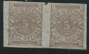 CSA Scott #62x4 Pos 28-29 New Orleans 5c Mint OG LH Pair of Provisional Stamps