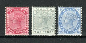 Malta 1885-90 1d carmine, 2d grey and 2 1/2d ultramarine MH