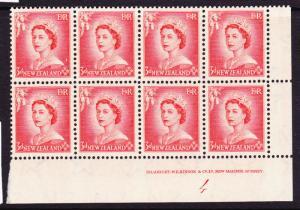 NEW ZEALAND 1953 3d QEII  PLATE BLK 8 # 4  MNH