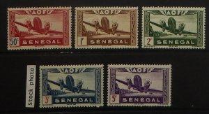 Senegal C17-21. 1942 50c-5Fr Vichy air post, NH