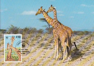 Kenya 1989 Maxicard Sc #493 4.40sh Reticulated giraffe WWF