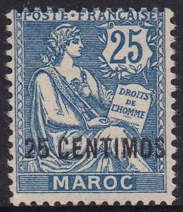 FRENCH MOROCCO 1902 MOUCHON 25C