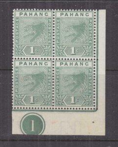 PAHANG, MALAYSIA, 1891 Tiger, 1c. Green, Plate # block of 4, mnh., slight spots.