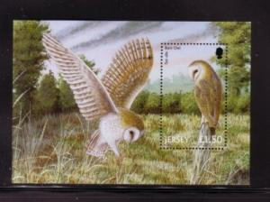 Jersey Sc 1003 2001 Barn Owl stamp souvenir sheet mint NH
