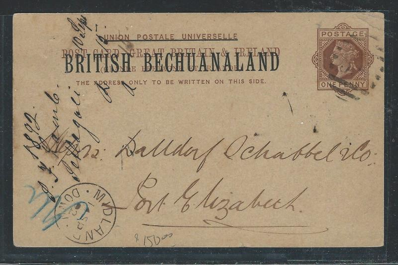 BECHUANALAND (PP0312B) 1892 QV 1D PSC USED TO PORT ELIZABETH WITH MSG