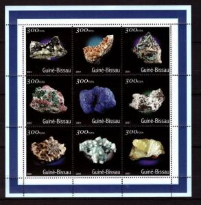 Guinea-Bissau MNH S/S Minerals 2001 9 Stamps