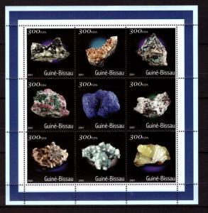 Guinea-Bissau MNH S/S Minerals Blue 2001 9 Stamps