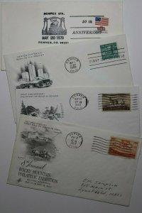 Colorado CO Lot 4 Philatelic Expo Cachet Covers 1957-1959 ROMPEX 1978 stamp club