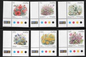 MALTA  Scott 1061-1066 MNH** 2001 Flower set