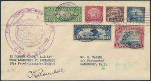 AUG 1929 R-T-W ZEPP FLT COVER #572,571,567,C7,C10,C11 SIGNED BY ROSENDAHL HV8631