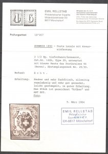 SWITZERLAND #2 USED 1850, 2½r Zum TYPE29, SUPERB With CERTIFICATE