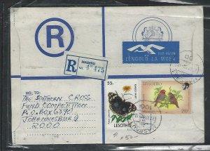 LESOTHO  (PP0310B) 1972  RLE+55S BUTTERFLY+BIRD 20S A/M MASERU TO JO'BERG