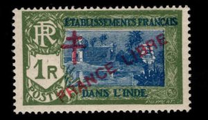 FRENCH INDIA  Scott 172 MH* France Libre  overprint