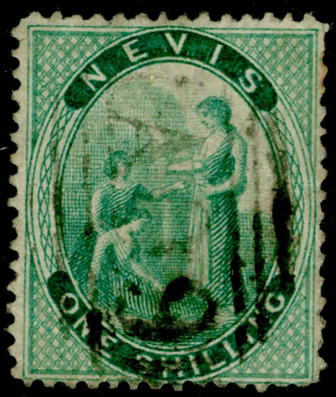 ST KITTS-NEVIS SG21c, 1s deep green, USED. Cat UNLISTED. CROSSED LINES ON HILL
