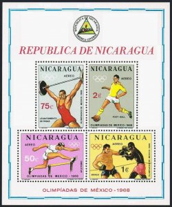 Nicaragua C666a sheet,MNH.Mi Bl.68 Olympics Mexico-1968.Hurdling,Soccer,Boxing,