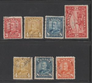 Canada Scott #151-152-154-157-168-171-172 Stamp - Used Set