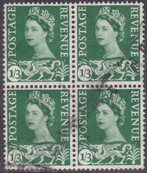 Wales & Monmouthshire # 5, Block of Four, Used, 1/3 Cat
