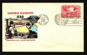 UN 1955 ICAO 8c FDC / Hand Colored Cachet - L3768