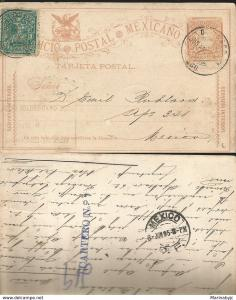 J) 1895 MEXICO, MEXICAN POSTAL SERVICE, CARRIER LETTER, INTERIOR SERVICE, POSTAL