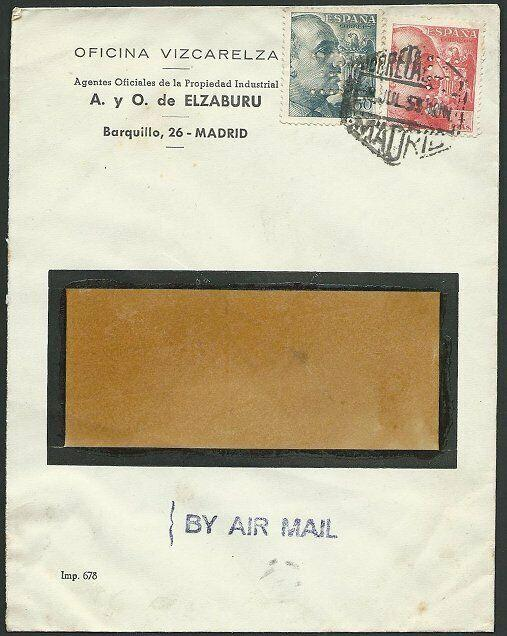 SPAIN 1955 airmail cover  : both stamps with E perfin......................49231