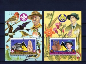 Saint Lucia 1986 SCOUTING BIRDS FLOWERS 2 s/s numbered Perforated Mint (NH)