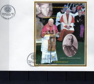 Turkmenistan 1997 Pope John Paul II-Cardinal Sapieha s/s Perforated in FDC